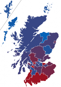 Map of predicted independence referendum results