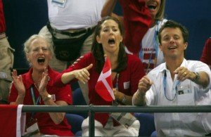 The Queen of Denmark, the Crown Princess and the Crown Prince at a handball match.