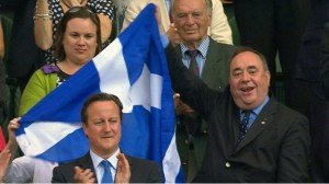 Alex Salmond waving the Saltire.
