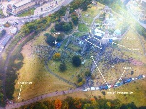 Aerial view of the independence rally with labels.
