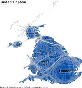 A cartogram of the UK.