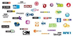 Some typical cable TV channels in Denmark.