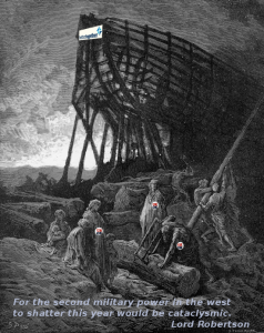 Gustave Doré's illustration of Lord Robertson's preparations for the cataclysmic events he has predicted.