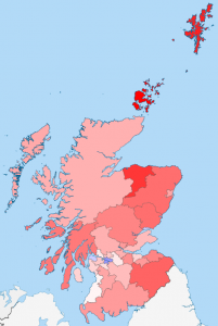 The colour of each council area shows the difference between the actual indyref result and my prediction. Red means it did less well, and blue means it did better.