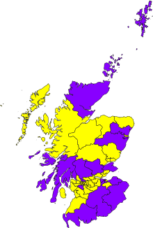 Which seats would a Better Together electoral alliance have won last Thursday (purple), and where would the SNP still have won (yellow)?