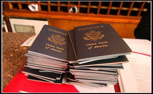 pile passports photo